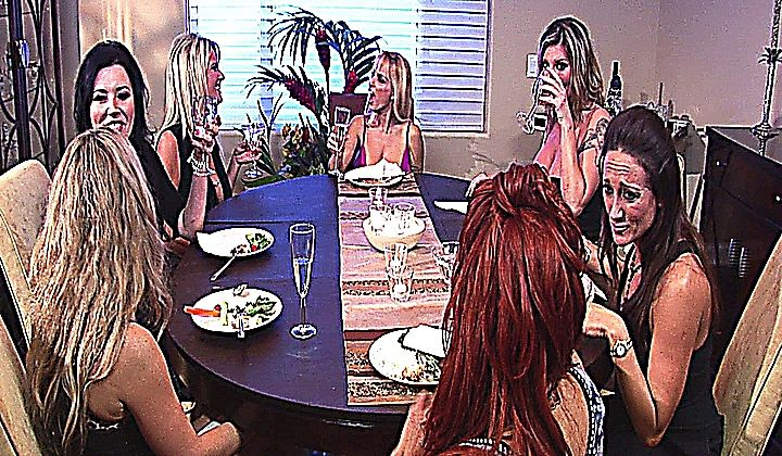 MILF - Horny Hot Lesbian Sluts Enjoy A Group Sex Dinner
